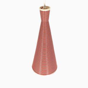 Französische Vintage Hängelampe in Rot & Cremefarbe von Heifetz für Rotaflex