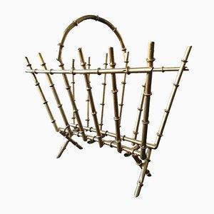 Revistero vintage de metal imitación bambú