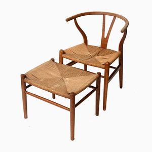 Vintage Wishbone Chair von Hans J. Wegner und Hocker von Jorgen Baekmark, 1960er