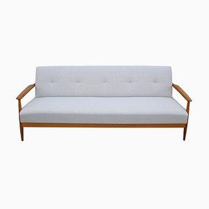Sofá cama en beige claro de cerezo, años 60