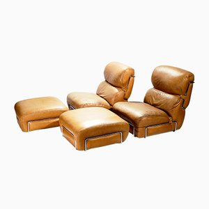 Leather Lounge Chairs with Ottomans by Gianfranco Frattini, 1970s