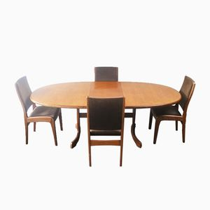 Large Dining Table with 4 Chairs from G-Plan, 1970s