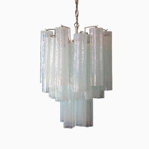 Murano Opal SIlk Glass Tube Chandelier from Mazzega, 1980s