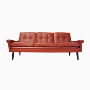 Red Leather 3-Seater Sofa by Svend Skipper for Skipper, 1970s