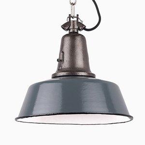 Lámpara colgante industrial vintage de hierro fundido azul grisáceo