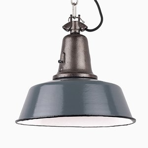 Vintage Industrial Blue-Grey Cast Iron Pendant Lamp