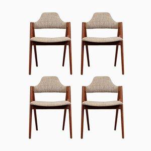 Stühle aus Teak mit Kompass-Beinen von Kai Kristiansen für den Sva Møbler, 1958, 4er Set