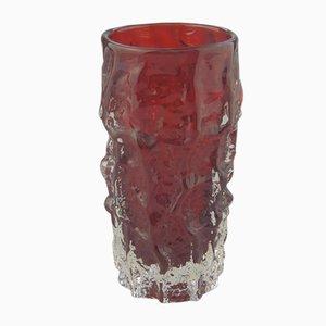 Vaso vintage in vetro rosso di Geoffrey Baxter per Whitefriars