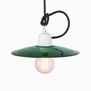 Lámpara colgante polaca industrial vintage en verde, años 60