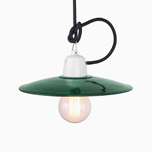 Vintage Polish Industrial Green Pendant Lamp, 1960s