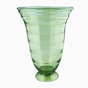 Große Vintage Vase aus geriffeltem Glas von Whitefriars, 1950er