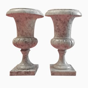 Vintage Marble Urn Vases, Set of 2