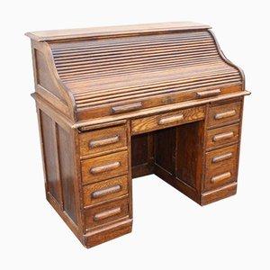 Eichenholz Schreibtisch mit Rolltüren, 1930er
