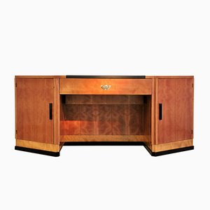 Hexagonaler Art Deco Schreibtisch aus Kirschholz & Mahagoni, 1930er