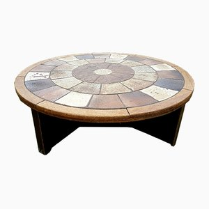 Round Ceramic & Oak Coffee Table by Tue Poulsen for Haslev, 1960s
