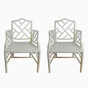 Mid-Century Faux Bamboo Chinoiserie Cockpen Armchairs, Set of 2