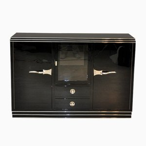 Art Deco Sideboard with Showcase & Chrome Handles, 1920s