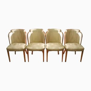 Cloudback Leather Chairs by Harry & Lou Epstein, 1930s, Set of 4