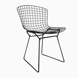 Schwarzer pulverbeschichteter Beistellstuhl von Harry Bertoia für Knoll, 1950er