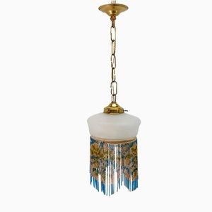 Lámpara colgante vintage con cuentas de vitral