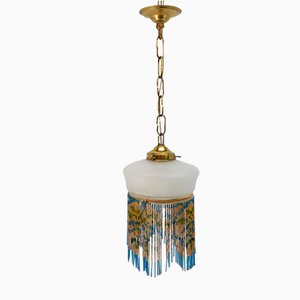 Vintage Hanging Lamp with Colored Glass Beads