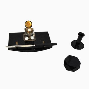 Art Deco Desk Set in Black Marble & Brass, 1920s