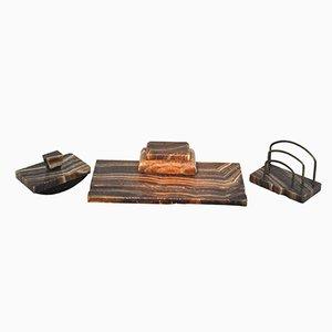 Marmor Schreibtisch Set in Rot & Braun, 1920er