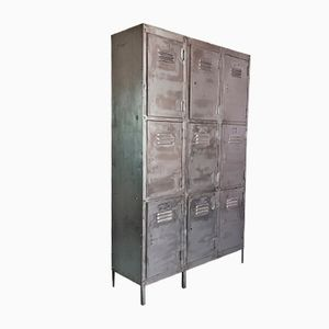Vintage Steel Locker with 9 Compartments