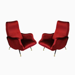 Chaises Sculpturales en Velours Rouge, 1960s, Set de 2