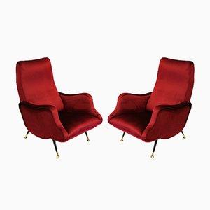 Stühle mit rotem Samt, 1960er, 2er Set