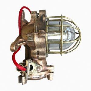 Industrielle feuerfeste Bronze & Messing Lampe von Kokosha, 1983