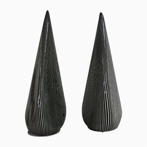 Lámparas grandes con pirámides de cristal de Murano de Vetri, años 70. Juego de 2