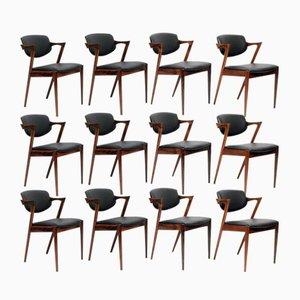 Modell 42 Leder & Palisander Stühle von Kai Kristiansen für Schou Andersen, 1960er, 12er Set