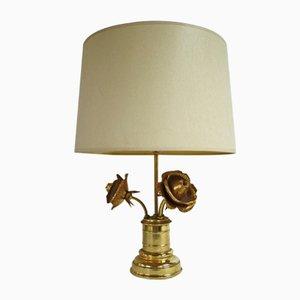 Lámpara de mesa con 3 rosas de latón, años 60
