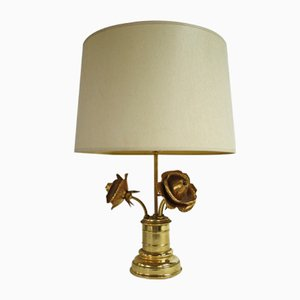 Table Lamp with 3 Brass Roses, 1960s