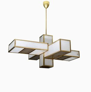 Brass & Alabaster Geometrical Chandelier from Glustin Luminaires, 2017
