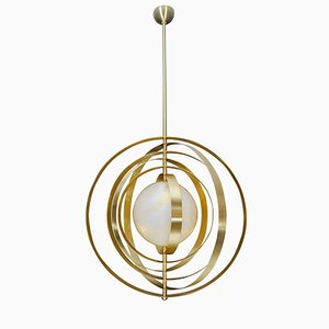 Alabaster Pendant Lamp with Brass Rings from Glustin Luminaires, 2018