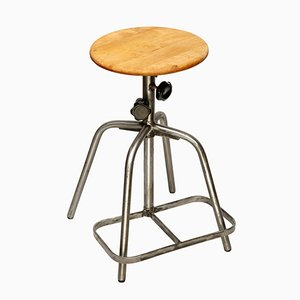 Vintage Polish Steel & Birch Workshop Stool, 1970s