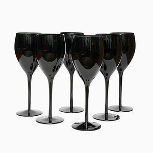 Black Wine Glasses by Zbigniew Horbowy for Sudety Glassworks, 1970s, Set of 6