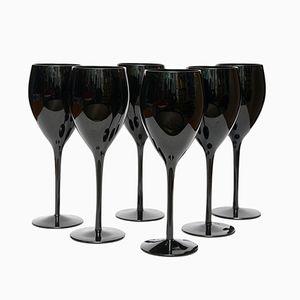Schwarze Weingläser von Zbigniew Horbowy für Sudety Glassworks, 1970er, 6er Set