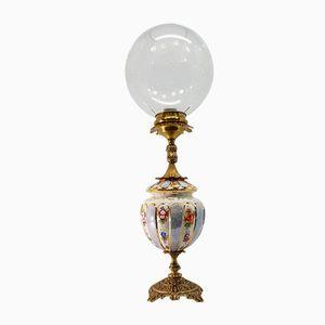 Lampada da tavolo vintage in ceramica e bronzo