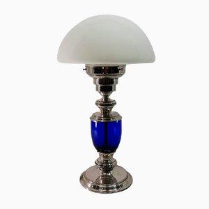 Lampada da tavolo vintage argentata e in vetro blu cobalto