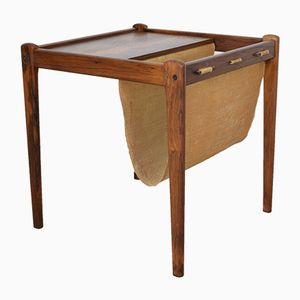 Danish Veneered Rosewood Side Table with Magazine Rack, 1960s