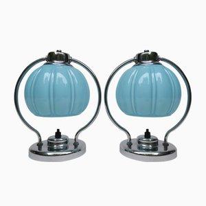 Lámparas de mesa de noche vintage cromadas. Juego de 2