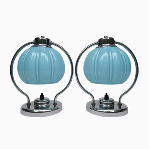 Vintage Chrome-Plated Bedside Lamps, Set of 2