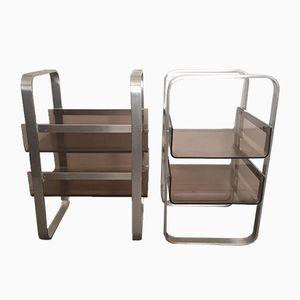 Vintage Plexiglas & Metal Side Tables, Set of 2