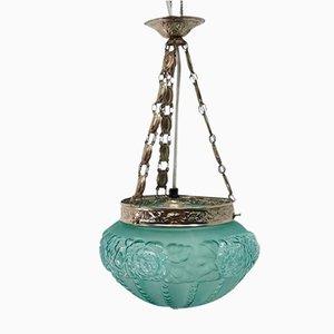 Lámpara colgante vintage con vidrio verde