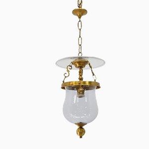 Lámpara de techo farol vintage de bronce y cristal de Vicente Cebriá