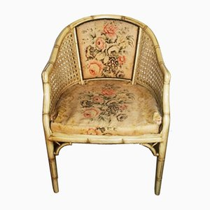 Vintage Cream Lacquered Faux Bamboo Barrel Chair