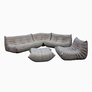 Light Grey Togo Leather Living Room Set by Michel Ducaroy for Ligne Roset, 1970s